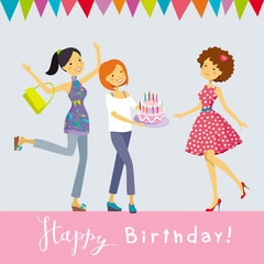 Birthday party vector greeting card