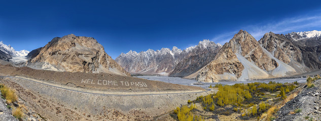 Panorama on Passu glacier, Karakoram highway Pakistan.
