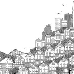 Hand drawn black and white illustration of San Francisco with Victorian houses and empty space for text