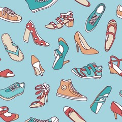 Colorful seamless pattern with various hand drawn shoes