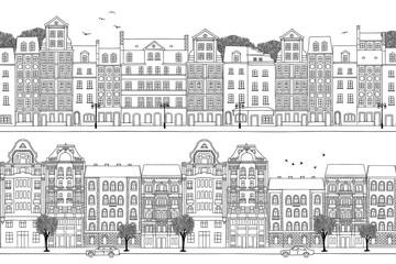 Two hand drawn seamless city banners - Polish and Hungarian houses