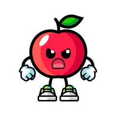 Apple angry mascot cartoon illustration