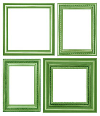 scollection of vintage green and wood picture frame, isolated on white