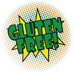 gluten free comic cartoon explosion retro design deal tag