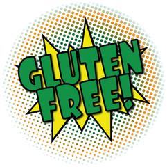gluten free comic cartoon explosion retro design deal tag