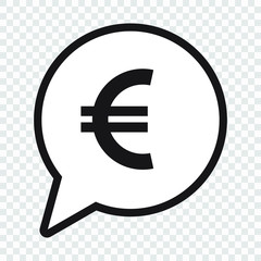 Euro symbol in speech bubble, vector icon