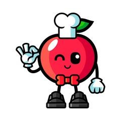 Apple chef mascot cartoon illustration