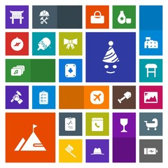 Modern, simple, colorful vector icon set with medicine, medical, picture, energy, travel, power, airplane, plane, japan, sweet, internet, compass, armchair, phone, music, party, photo, full, fun icons