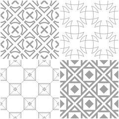Geometric patterns. Set of light gray and white seamless backgrounds