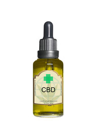 CBD oil bottle isolated on white