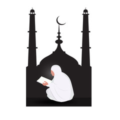 Muslim woman reading Quran on mosque  background