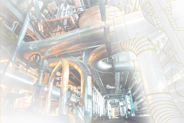wireframe computer cad design concept image. industrial piping in the factory combined with drawing, smart plant solution idea