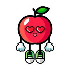 Apple fall in love mascot cartoon illustration