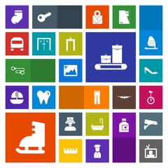 Modern, simple, colorful vector icon set with picture, technology, fashion, medical, machine, luggage, care, image, entrance, nurse, tv, transport, toilet, bag, ice, bathroom, travel, shoe, bus icons