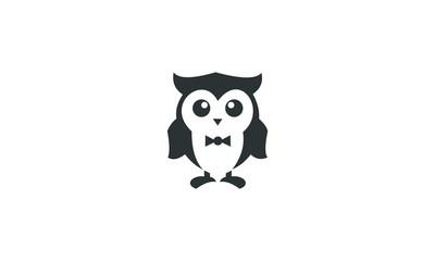 black funny owl logo