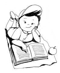 The little japanese plump boy with cap lies on the floor and reads the book