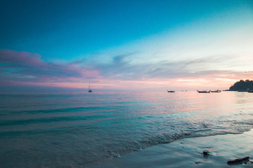 Pink blue sunset sea beach