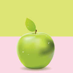 Two colored background with green apple