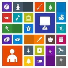 Modern, simple, colorful vector icon set with laptop, clean, care, ball, internet, kitchen, brush, bodybuilding, game, sweet, camera, milk, candy, hygiene, boy, poker, pin, spoon, rocket, launch icons