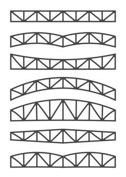 Steel metal trusses. Designs vector illustration. Set of different beams.