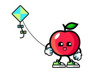 Apple play kite mascot cartoon illustration