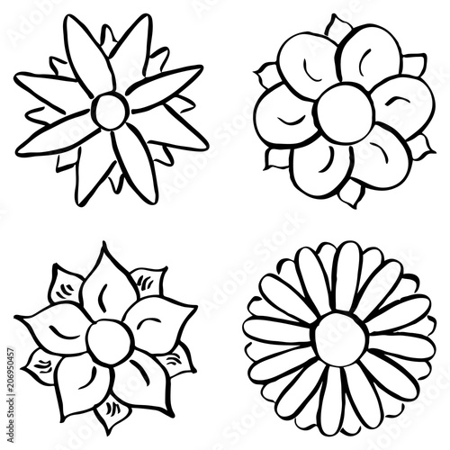 Cartoon Blumen Zum Ausmalen Stockfotos Und Lizenzfreie Vektoren Auf