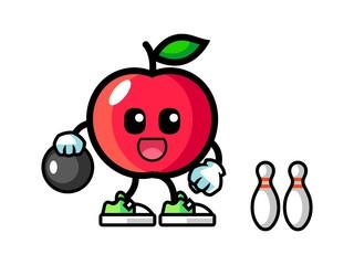 Apple play bowling mascot cartoon illustration