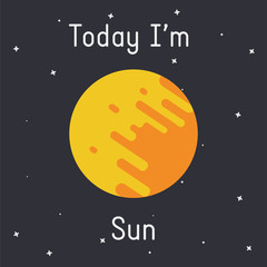 "Vector Sun illustration with ""Today I'm Sun"" caption on dark background"