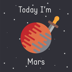"""Vector Mars with sword illustration with """"Today I'm Mars"""" caption on dark background"""