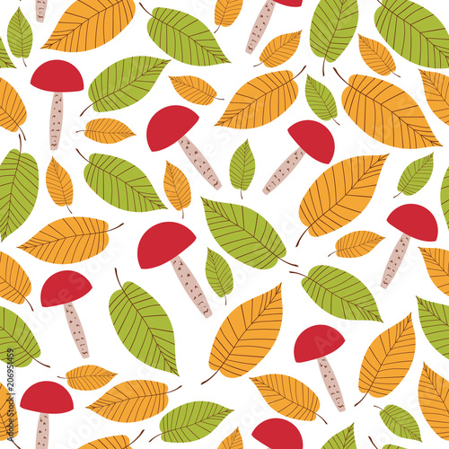autumn forest pattern vector seamless mushrooms and elms leaves on