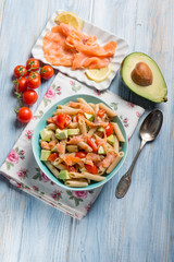 cold pasta with smoked salmo avocados and tomatoes