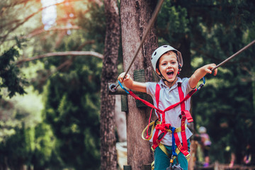 Little boy climbing in adventure activity park with helmet and safety equipment Wall mural