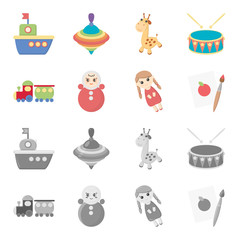 Train.kukla, picture.Toys set collection icons in cartoon,monochrome style vector symbol stock illustration web.