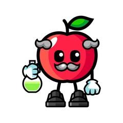 Apple scientist mascot cartoon illustration