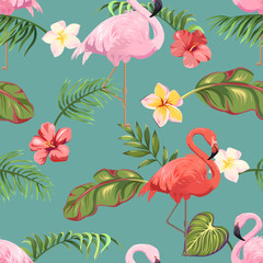 Seamless pattern with flamingos and tropical plants