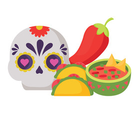 sugar skull with mexican food related icons over white background, colorful design. vector illustration