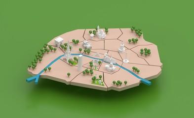 PLAN DE PARIS - Monuments touristiques - VERT