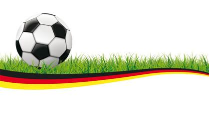 Fußball auf dem grünen Rasen Deutschland Flagge