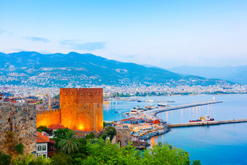 View of Alanya harbour at sunset. Alanya, Turkey