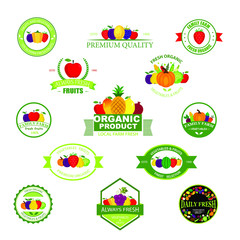 Organic farming products vector labels, emblems, badges, logos, stickers set. Organic food emblem and badge.