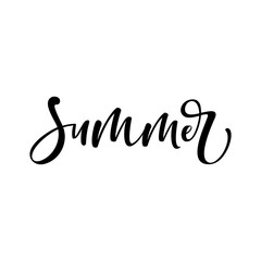 "Hand lettered text ""Summer"" isolated on white background. Vector handwritten typography."