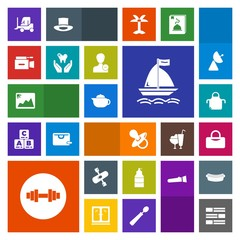 Modern, simple, colorful vector icon set with paint, camera, television, apron, board, image, kitchen, hot, breakfast, drink, child, pacifier, kayaking, kid, picture, gym, baby, internet, frame icons