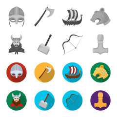 Viking in helmet with horns, mace, bow with arrow, treasure. Vikings set collection icons in monochrome,flat style vector symbol stock illustration web.
