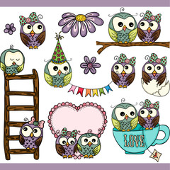 Loving owls set digital elements
