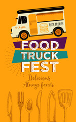Food truck festival menu brochure, street food template design. Vintage creative party invitation with hand-drawn graphic. Vector food menu flyer.