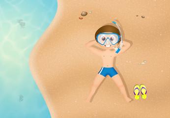 little boy in summer