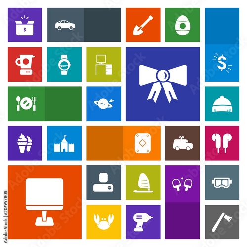 Modern, simple, colorful vector icon set with laptop, social