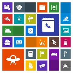 Modern, simple, colorful vector icon set with clothes, nation, phone, picture, shirt, white, poker, bed, travel, game, play, man, bedroom, america, alien, garden, tent, flag, space, adventure icons
