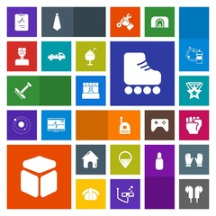 Modern, simple, colorful vector icon set with business, market, job, store, garden, boy, human, people, skating, truck, supermarket, medical, finger, estate, doctor, heart, cube, building, food icons