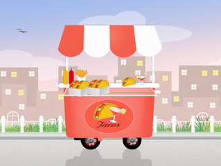 illustration of tacos cart
